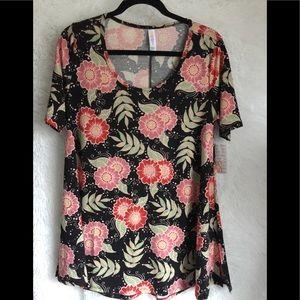 LuLaRoe Perfect T Shirt Top Floral Black